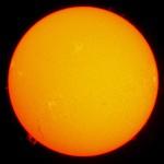 3.9.2011 / Lunt 60mm-H-Alpha-Teleskop f/8.3, Canon Eos 1000d, ISO100, 1/30 Sek. / F. Steimer